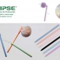 Bolígrafo plástico tinta gel pompón colores surtidos